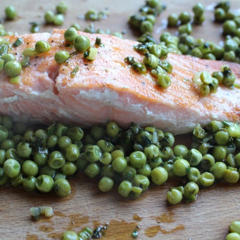 Pan-fried Scottish Salmon with Lemon & Coriander Peas –