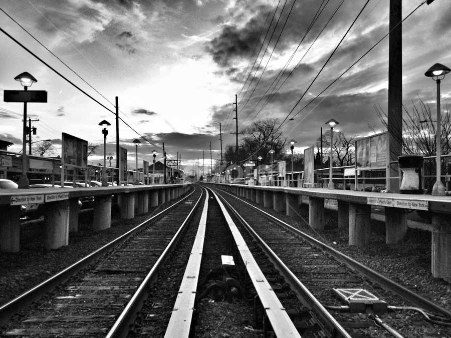 Returning Commute by Chris Mare - Landscapes Travel ( train tracks, black and white, sunsets, sunset, black & white, bw, commute, train, pwcbwlandscapes, returning commute, daily, commuting )