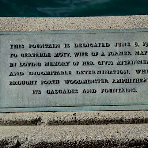 This fountain is dedicated June 5, 1955,to Gertrude Mott, wife of a former mayor,in loving memory of her civic attainmentsand indomitable determination, whichbrought forth Woodminster ...