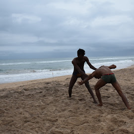 Wrestling by the sea. by Kausik Datta - Sports & Fitness Other Sports ( wrestling, sports, beach )