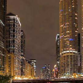 Marina Tower and Traffic by Sue Matsunaga - City,  Street & Park  Night