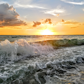 Sunset swim in the waves at sunset  by Jeffrey Lee - Landscapes Sunsets & Sunrises ( sunset swim in the waves at sunset )