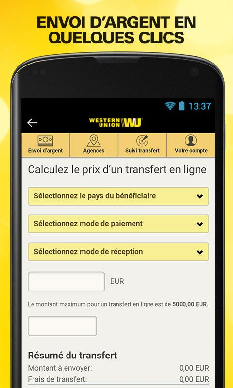 Send money with Western Union Screenshot 1
