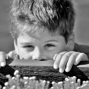 Hide & Seek by Adell du Plessis - Black & White Portraits & People ( playing, hide, black and white, outdoor, boy )