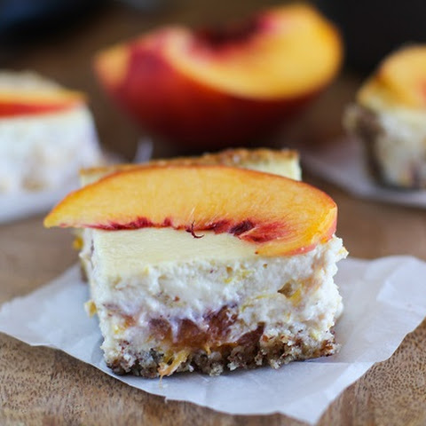 Peach Almond Yogurt Cheesecake Bars