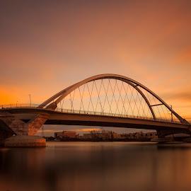 Majestic Lowry Bridge by Bill Kuhn - Buildings & Architecture Bridges & Suspended Structures ( minnesota, sunset, minneapolis, long exposure, bridge, river, mississippi, lowry )
