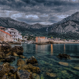 Old port by Bojan Bilas - Landscapes Waterscapes ( croatia, weather, long exposure, town, seascape, gradac, daybreak, city )