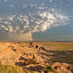 Badlands Storm by Eric Ebling - Landscapes Weather ( clouds, sky, soutdakota, storm, rainbow, badlands, nationalpark, rain, roadtrip )