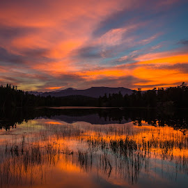 Minnie Lake Sunset by Richard Duerksen - Landscapes Sunsets & Sunrises ( glacier view, ward, colors, colorado, sunset lake )
