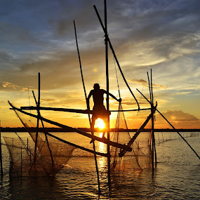 FISHING  by Dipankar Singha - Landscapes Sunsets & Sunrises