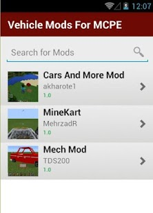 11 Vehicle Mods For MCPE App screenshot