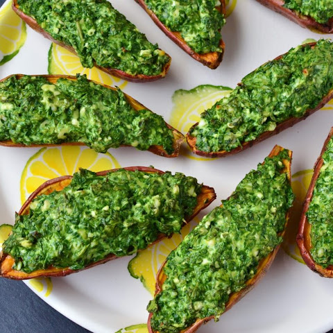 Baked Sweet Potato With Spinach And Feta