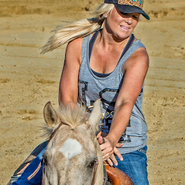 Blonde Barrel Racer by Joe Saladino - Sports & Fitness Rodeo/Bull Riding ( blonde, barrel race, horse, lady, racer )