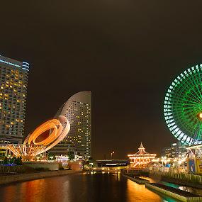 Minato Mirai by Ketut Pujantara - City,  Street & Park  Amusement Parks ( clock, amusement park., minato mirai, yokohama, japan port, ferris wheel )