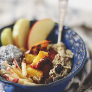 Overnight Bircher Muesli With Broiled Peaches
