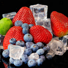 Icy Fruit Display by Jim Downey - Food & Drink Ingredients ( ice, strawberries, lime, blueberries, black )