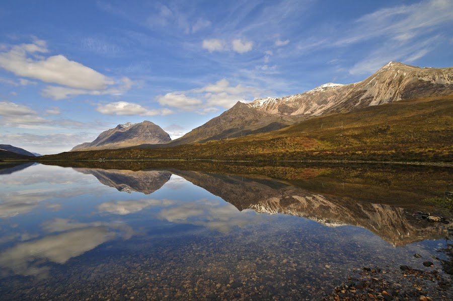 REFLECTING ON LIATACH NORTHERN HIGHLANDS SCOTLAND by Ross Hutton - Landscapes Waterscapes