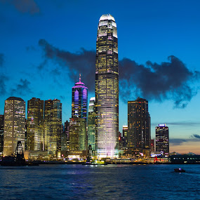 Summer Night by Anthony Lau - Travel Locations Landmarks ( hong kong, landmark, victoria harbor, summer sky, architecture )