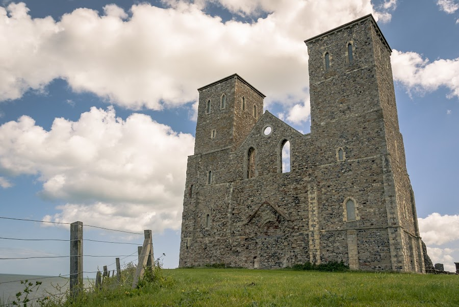 St Mary's by Darrell Evans - Buildings & Architecture Public & Historical ( clouds, old, building, uk, reculver, church, herne bay, grass, ruin, kent, stone, tourism, st mary's, historic, sky, towers, outdoor, monastery, medieval )