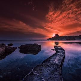 Qbajjar Bay, Gozo by Mario Rodgers - Landscapes Sunsets & Sunrises ( sunrise, seascape, leading lines, waterscape, shapes, malta, firey sky, gozo, colorful )