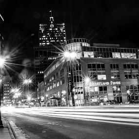 traffic light trails on Water Street by Jason Lockhart - Black & White Street & Candid ( milwaukee, wisconsin, water street, black and white, traffic light trails )