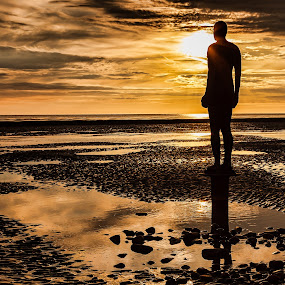 Divine Protector of the Sands by Jon Hunter - Landscapes Sunsets & Sunrises ( water, sand, statue, reflection, sunset )