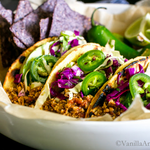 Mexican Spiced Tofu Tacos with Chili-Lime Slaw and Cilantro-Pepita Crema