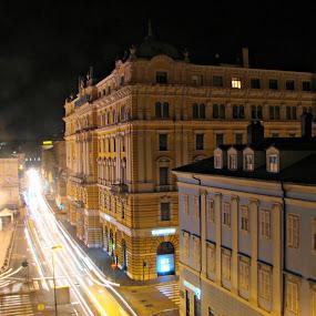 Rijeka at Night by Ivan Mendes - City,  Street & Park  Night ( croatia, cars, glare, hrvatska, town, light, night, buildings, black, yellow, rijeka, lights )