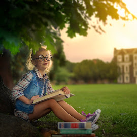 Student Life by Piotr Owczarzak - Babies & Children Children Candids ( books, girl, tree, park, london, children )