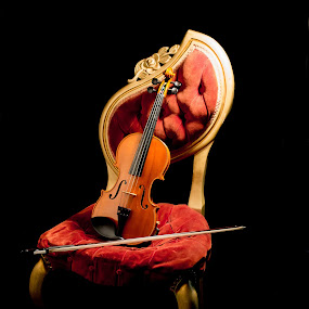 by April Sadler - Artistic Objects Musical Instruments ( #violin #chair #antique #low key lighting #dark )