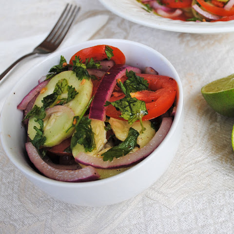 Cucumber Salad with Tomatoes and Onion