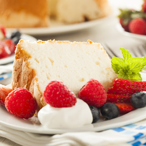 Broiled Angel Food Cake with Fresh Whipped Cream and Berries