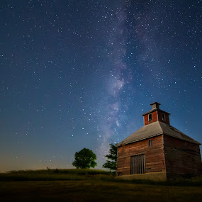 Nebraska Nights by Eric Anderson - Landscapes Starscapes ( grainery, stars, night, nebraska, nightscape, milky way )