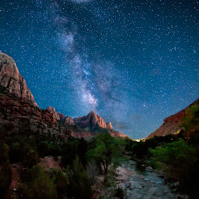 Zion's Starry Nights by Kevin Miller - Landscapes Mountains & Hills ( mountain, park, stars, national, night, zion, milky way )