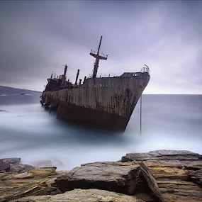 Semiramis by Mary Kay - Landscapes Waterscapes ( andros, shipwreck, greece, maria kaimaki, sea, long exposure, sunrise )