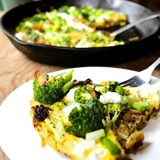 Goat Cheese, Wood Sorrel & Broccoli Frittata