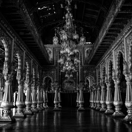 Mysore Palace  by Maria Berggren - Black & White Buildings & Architecture ( canon, history, india, museum, travel, architecture, palace )