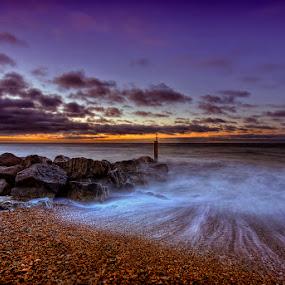 Sunsrise ... by Pawel Tomaszewicz - Landscapes Waterscapes ( water, exposure, clouds, kamyki, hdr, colors, kolory, pebbles, long, colours, dri, sky, chmury, sunset, sunrise, skały, rocks )