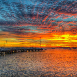 Sunset at the pier  by Ann Goldman - Novices Only Landscapes ( sunset, pier, geothermal engineering, bayside )