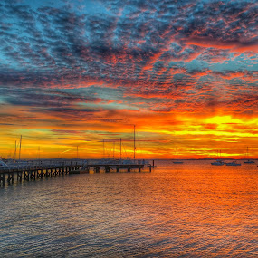 Sunset at the pier  by Ann Goldman - Novices Only Landscapes ( sunset, pier, geothermal engineering, bayside,  )