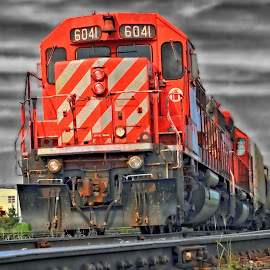 6041 by Don Malcolm - Transportation Trains ( clouds, colour, horizon, train, tracks )
