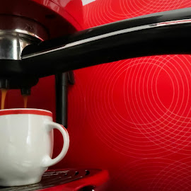 Espresso by Fabio Latorre - Food & Drink Alcohol & Drinks ( red, espresso, coffee, kitchen, closeup )