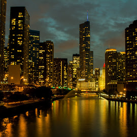 The River at Night 8x10 crop by David Kreutzer - City,  Street & Park  Night ( lights, skyline, building, blue hour, buildings, long exposure, night, chicago, river )