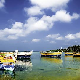 Resting by Vijayanand K - Transportation Boats ( fishing boats, boats, sea, fishing, boat, anchored boats )