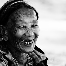 Confidently Beautful by River Chad - People Portraits of Women ( blackandwhite, nikon', smile, light, philippines, culture, photography, shadows, portrait )