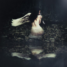 Memory of a One-Winged Angel by Tyler Oxley - Digital Art People ( angel, reflection, wings, back, feathers )