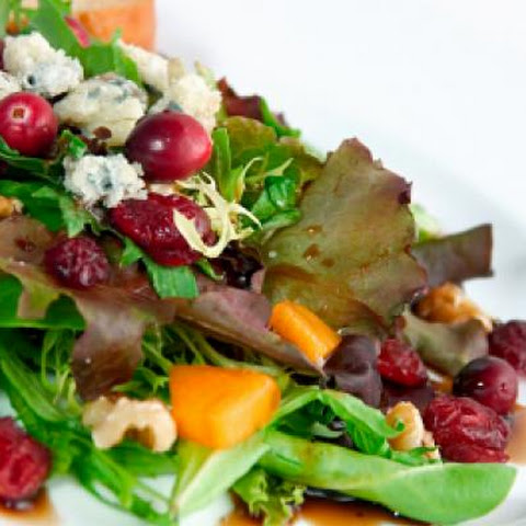 Green Salad with Pomegranate Vinaigrette and Goat Cheese Garnish