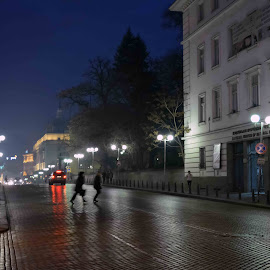 Sofia and night by Живко Раев - City,  Street & Park  Street Scenes ( night life, street, night, city, city at night, street at night, park at night, nightlife, nighttime in the city )