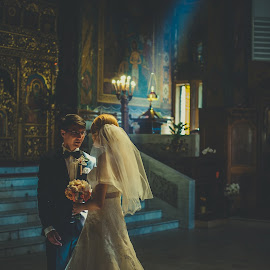 Holy Light by Stefan Dimoiu - Wedding Ceremony ( church, ceremony, bride, light, groom )