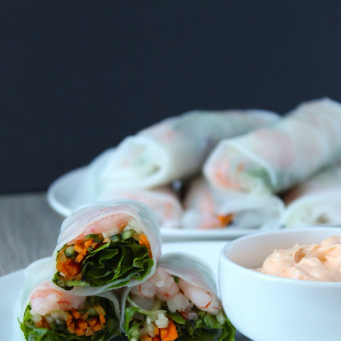 Shrimp and Vegetable Spring Rolls with Creamy Sriracha Dipping Sauce